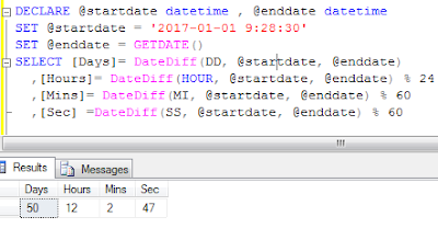 Sql server: Get difference in Day, Hour, Minute and second between two dates
