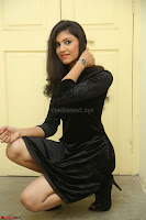 Mounika in a velvet short black dress for Tick Tack Movie Press Meet March 2017 067.JPG