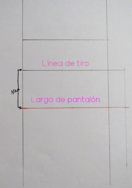 Marcada del largo del pantalón desde la línea del tiro sobre las líneas básicas