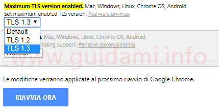 Chrome flags attivare TLS 1.3