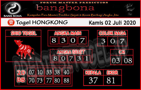 Prediksi Bangbona HK Kamis 02 Juli 2020