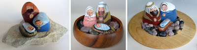 painted rocks, unique nativity sets, nativity scene figures, natural, Cindy Thomas