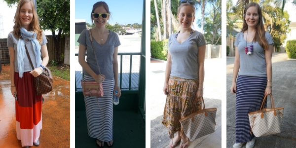 4 outfit ideas with printed skirt and grey tee | away from the blue blgo