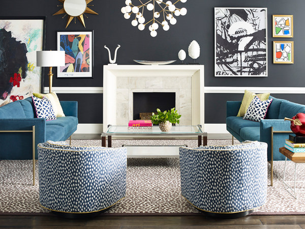 glam living room with walls painted with Sherwin Williams Cyberspace