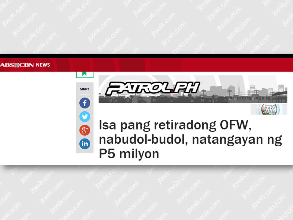 "Consecutive  incidents of swindling by suspected ""budol-budol"" modus victimizing OFW surfaced which is seriously alarming. Just recently, an OFW retiree from Bataan was reportedly fallen victim of the said criminal elements. They approached him, lured him into their snare and went away with P8 million hard-earned money which the former OFW toiled for 30 years. Advertisements    Again, another OFW retiree lost his P5 million which he worked for and earned as an OFW for 40 long years, just to be robbed by the ""budol-budol"". ""Antonio"", 71, a former helicopter mechanic abroad was furious as he narrates his ordeal with the swindlers who convinced him to buy five boxes of additives converting used oil to virgin coconut oil, promising him to earn P1,000 for every piece. He paid P200,000 cold cash and deposited P4.9 million under the account of certain Cherrie Ferrer Barbara. The group also promised Antonio that if their transaction will push through, they will order 300 boxes per month assuring Antonio of his income. When he opened the boxes, he found out that it only contain flour. Surprisingly similar to what happened to the former OFW in Bataan. Leonardo Austria was persuaded to order an enzyme that will keep the fish fresh. Also with a promise that he will earn P1,000 in each box but it turned out that the product only contain flour. The swindlers got away with P8 million.  The Philippine National Police (PNP) warned the public, especially the OFWs and the senior citizens who are now being targeted by the notoriuos ""budol-budol"" gang. Senior Supt. William Segun of Cavite Provincial Police Office said that before giving them that big chunk of cash, we need to be cautious and aware of their business and credibility. He also added that transactions has to be made inside the bank. Asking them to present a valid government issued IDs will also help. take photos of them and the vehicles they use as well to ensure our safety against swindlers."