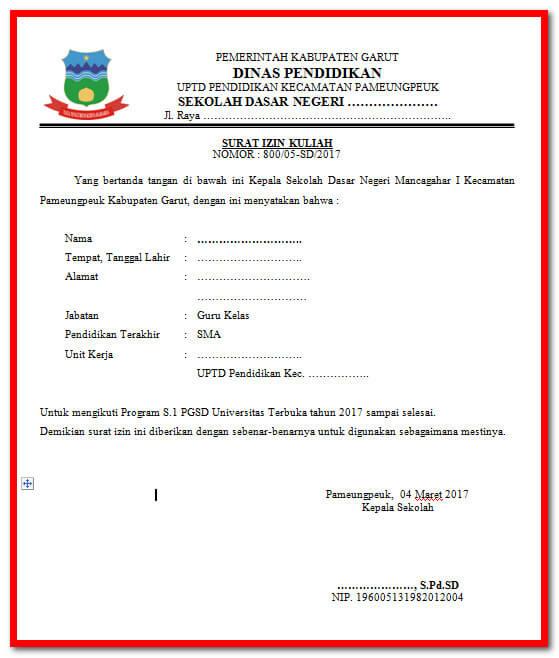 Contoh Surat Izin Kuliah Bagi Guru Format Words.Docx
