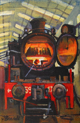 Plein air oil painting of 5917 steam locomotive steaming in the Large Erecting Shop, Eveleigh Railway Workshops painted by industrial heritage artist Jane Bennett