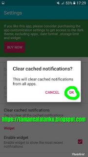 konfirmasi hapus riwayat notifikasi recent notification