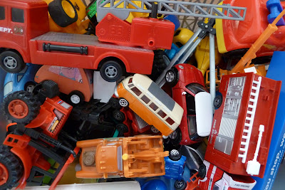 Toy car and truck clutter