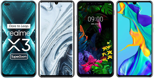 Realme X3 Super Zoom vs Xiaomi Mi Note 10 vs LG G8 Smart Green Thinq vs Huawei P30