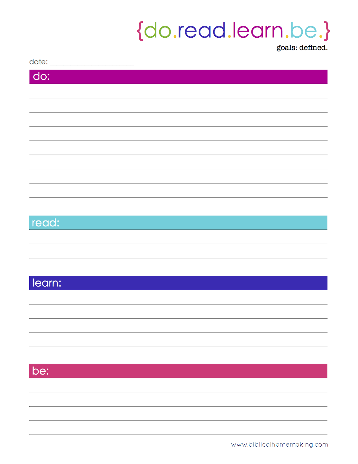 Setting Doad Learn Goals Free Printable