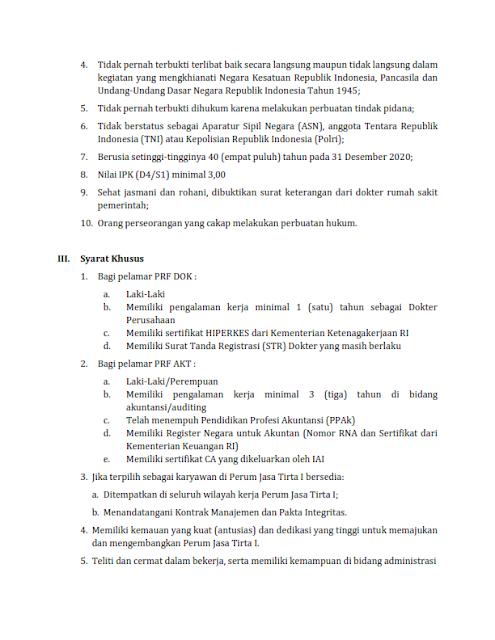Lowongan Kerja BUMN SMA SMK D3 S1 Oktober 2020 PERUM Jasa Tirta I