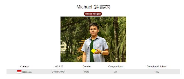 Profile akun WCA dari Michael yang merupakan Trainee Delegate baru di Indonesia