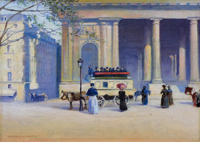 Kuvassa maalaus 1800-1900 luvun vaihteesta kaupungilta. Kuvassa pylväikkörakennuksen edessä ihmisiä ja hevosvaunut.