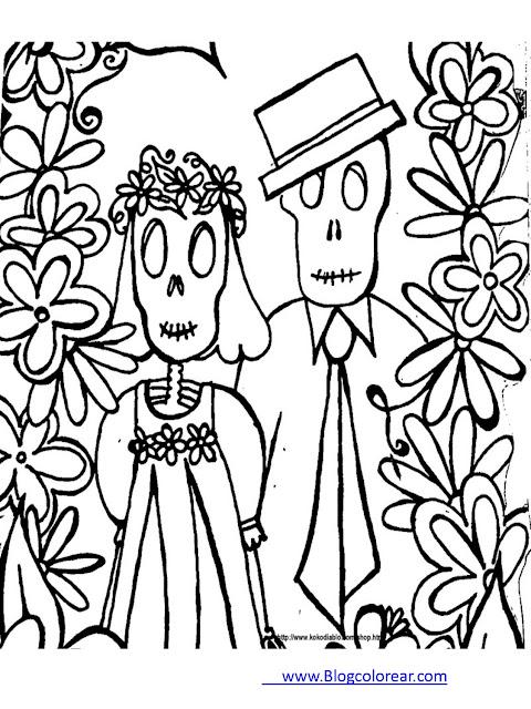 Dibujos día de los muertos para colorear