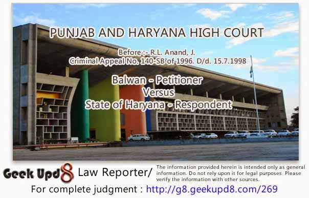 Punjab and Haryana High Court - Identification of accused for the first time in court is no identification in eyes of law - Identification not proved - Accused acquitted giving benefit of doubt