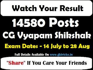 CG Vyapam Shikshak Result