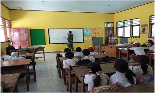 Pelajar Sekolah Dasar di Lokasi TMMD Dibekali Wasbang