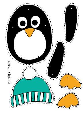 pinguino para recortar y armar