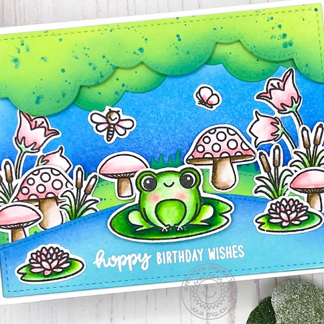 Sunny Studio Stamps: Stitched Rectangle Dies Feeling Froggy Spring Scenes Birthday Card by Julia Englich
