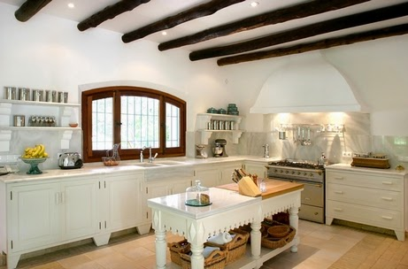 beamed ceiling in the country style interior