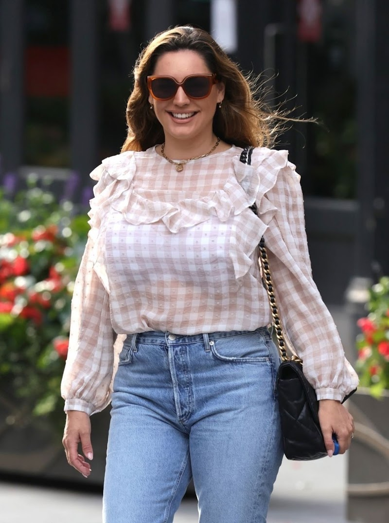 Kelly Brook Snapped at Heart Radio in London 22 Aug -2020