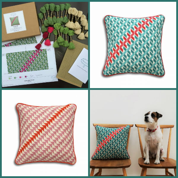 Geometric Needlepoint Pillows with Paddy the Dog