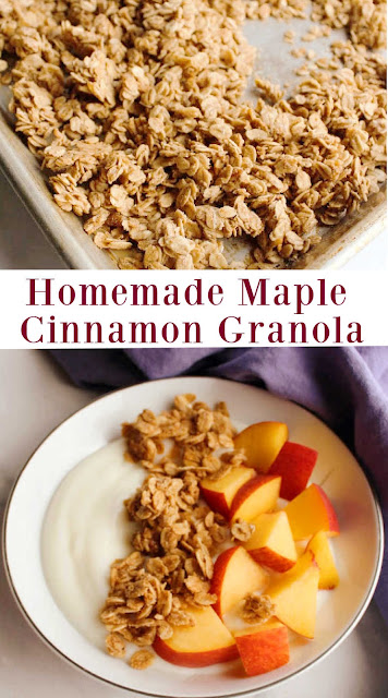This is the best homemade granola recipe out there.  I am just sure of it!  It is crunchy, sweet and flavorful just like you would want it to be.  Plus it doesn't take more than a few minutes to put together.  There is some oven time, but almost no work! It taste of maple syrup, cinnamon and toasted oatmeal. So good! Throw in a handful of pecans if you'd like and you'll really be in heaven!