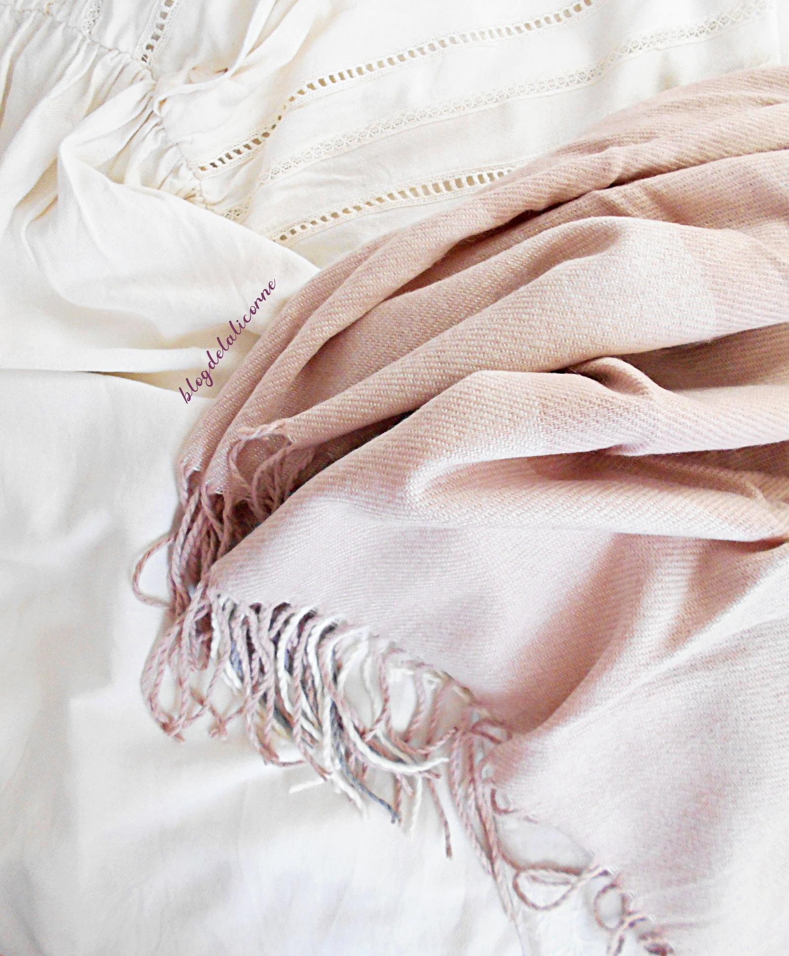Bonprix Šál biela vlna-ružová-svetlosivá