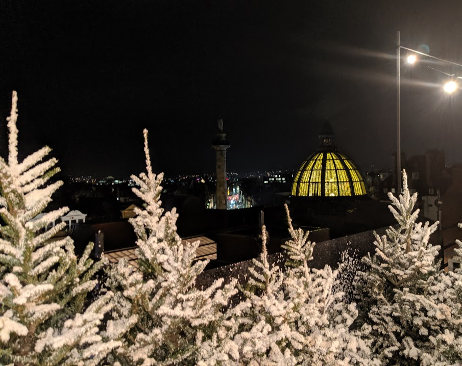Santa on the Rooftop at Fenwick Newcastle Review  - botanist dome and greys monument
