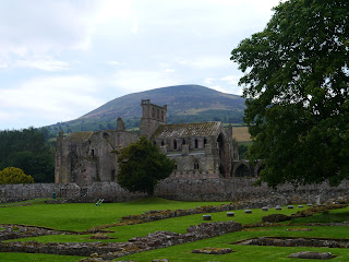 Melrose Abbey and Eildon North Hill