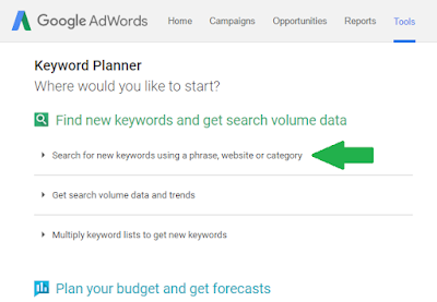 Google keyword planner's home page-2