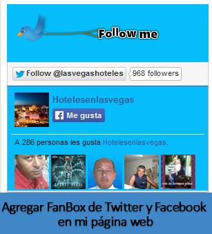 Agregar FanBox de Twitter y Facebook en mi página web