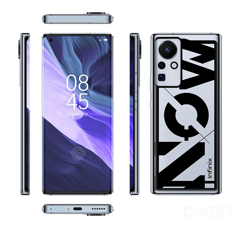 Leaks and renders of an Infinix device with curved display, 160W charging, and periscope camera
