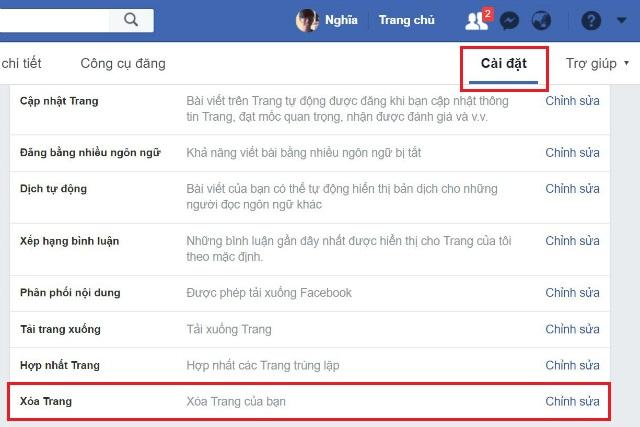Cách xóa fanpage facebook 2
