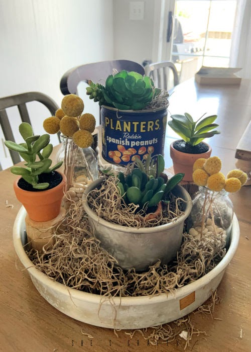 Faux Succulent Display - Summer Home Decor - How to use faux succulents to make a summer display