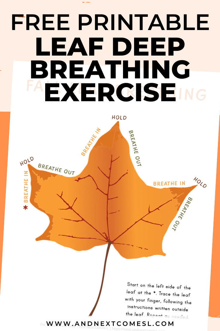 Fall leaf deep breathing exercise for kids with free printable mindfulness poster