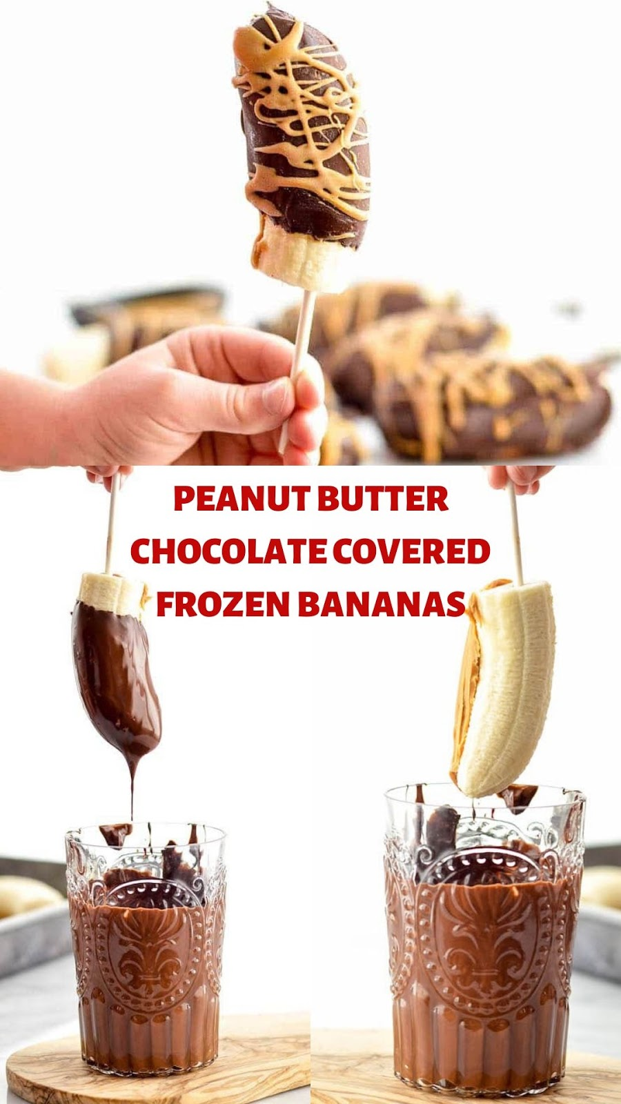PEANUT BUTTER CHOCOLATE COVERED FROZEN BANANAS