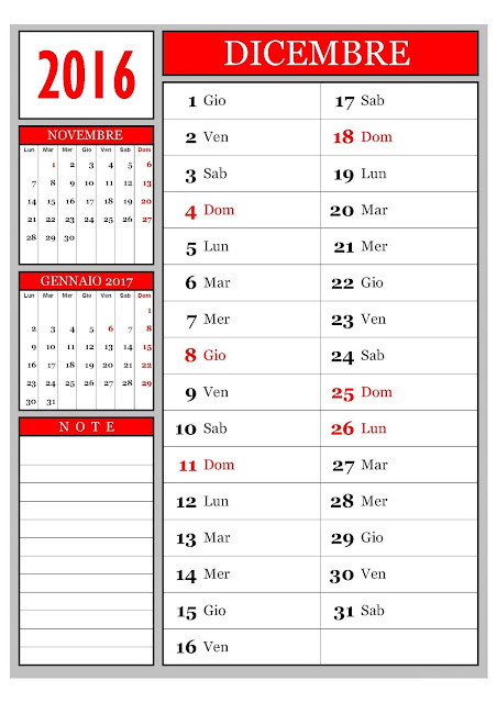 Calendario mensile - Dicembre 2016