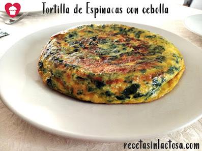 Tortilla de Espinacas y cebolla sin lactosa