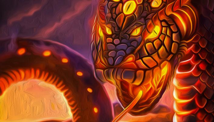 Imagem: ilustração de uma enorme serpente em tons de roxo e amarelo com o corpo coberto de vários olhos amarelos como que feitos de fogo e lava, a boca da serpente está aberta, mostrando sua língua e presas afiadas.