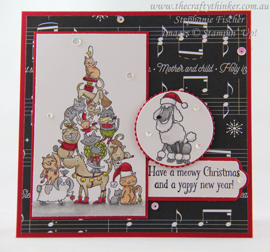 #thecraftythinker, #stampinup, #christmascard, #cardmaking, #xmascard, Santa Paws, Christmas Card, Stampin' Up Australia Demonstrator, Stephanie Fischer, Sydney NSW