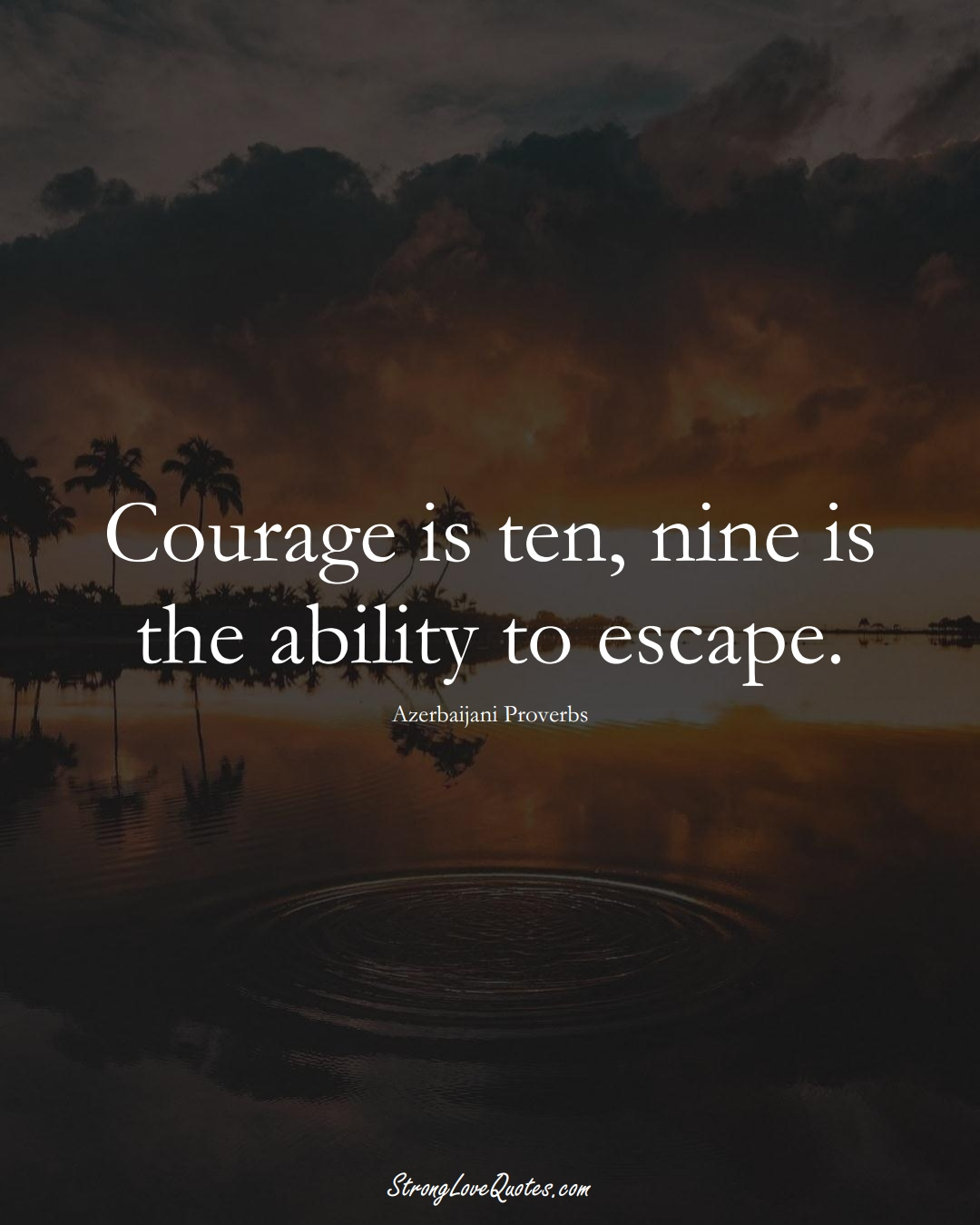 Courage is ten, nine is the ability to escape. (Azerbaijani Sayings);  #AsianSayings