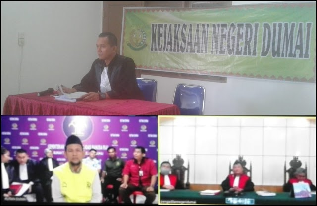 Pertama Kali, Jaksa Dumai Bersama Majelis Hakim Gelar Sidang Via Online Cegah Penyebaran Virus Corona