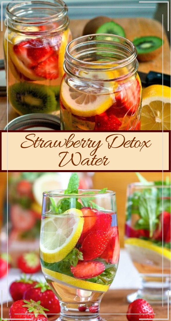 Strawberry Detox Water  #healthydrink #easyrecipe #cocktail #smoothie