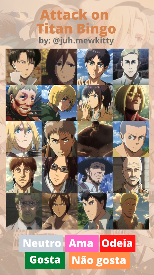 Stories Instagram: Templates Bingo de Animes