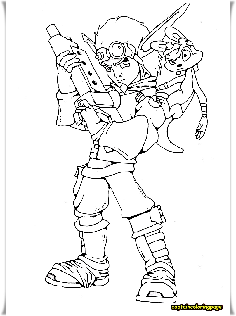 JAK AND DAXTER PRINTABLE COLORING PAGE-HIGH QUALITY