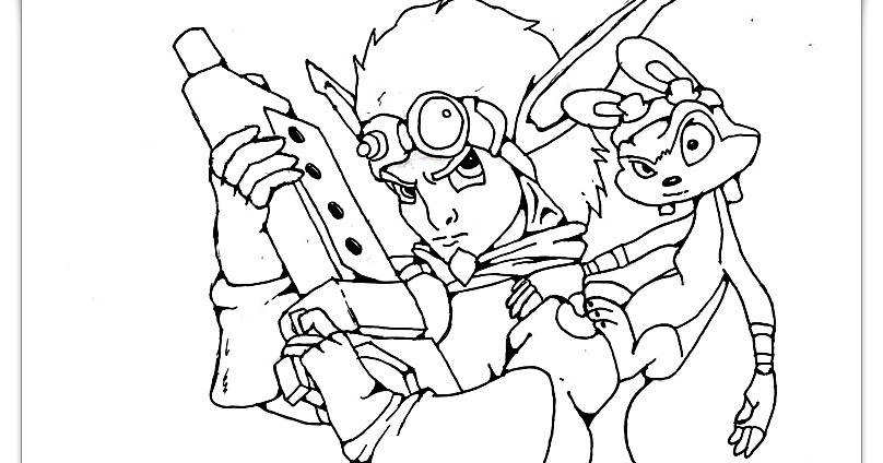 JAK AND DAXTER PRINTABLE COLORING PAGE-HIGH QUALITY - Coloring Page