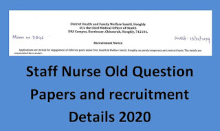Hooghly District Staff Nurse Previous Question Papers and Syllabus 2020