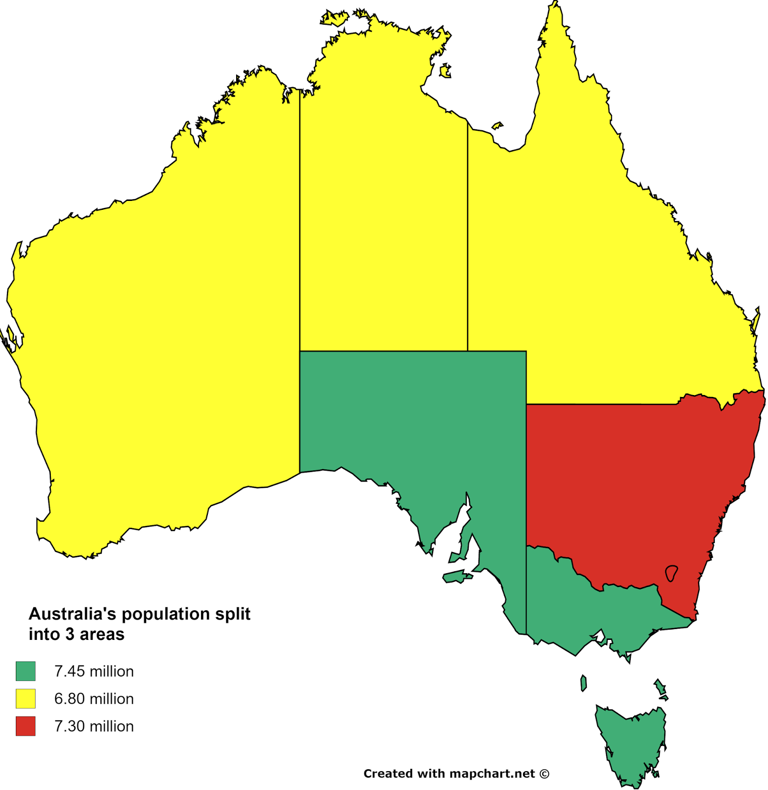 Australia's population split into 3 areas